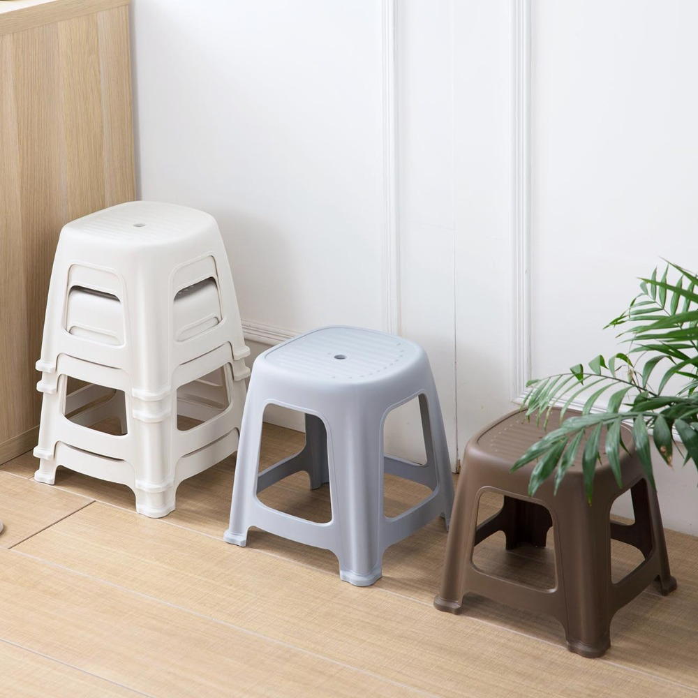 Ottoman Thicken Plastic Stools Living Room Non-slip Bath Bench Children Kids Stool Changing Shoes Stool Japanese Minimalism