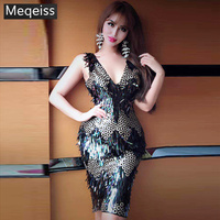 New Summer Women Dress V Neck Sleeveless Sequined Dress Sexy Bodycon Chic Celebrity Party Black Gold Dresses Vestidos wholesale