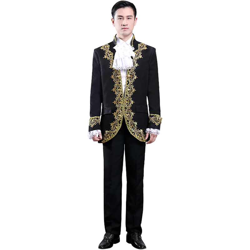 2020 Men's Gold Jacquard Black Thai Court Costume Classic Coat High-End Atmosphere Southeast Asian Style Clothing