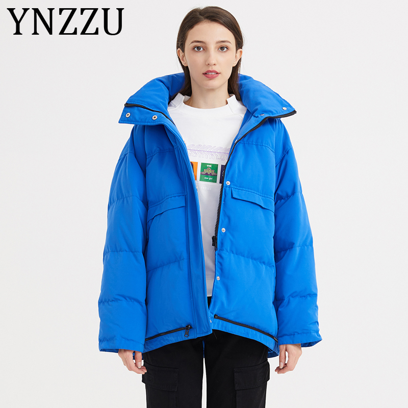 YNZZU 2019 New Winter Duck   Down     Coat   Women Thicken Hooded   Down   Jacket Loose Windproof Warm Ladies Outwears High Quality A1116