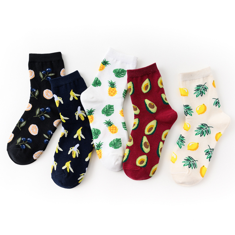 5 Pairs/set Woman Harajuku Socks Tropical Fruit Socks Avocado Banana Sock Cotton Streetwear Funny Sock Girl Cute Print Long Soks