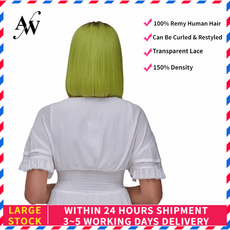 AW 12'' Lemon Green 150% Density Straight Bob Lace Front Wig Transparent Pre Plucked Hairline Half Lace Remy Hair Wig For Women
