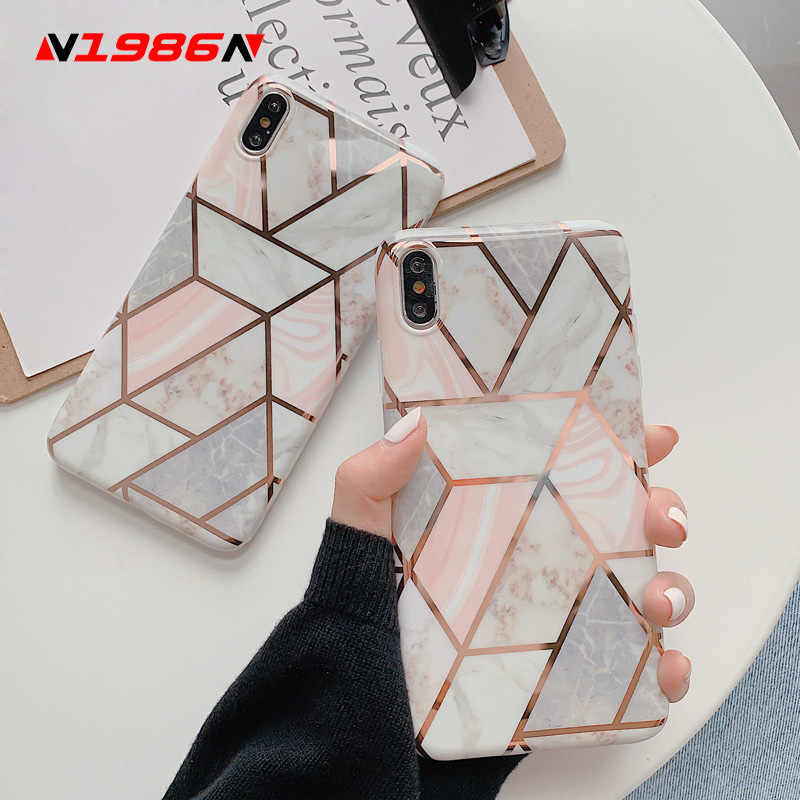 N1986N Splice Marmer Telefoon Case Voor iPhone 11 11 Pro Max X XR XS Max 6 6s 7 8 plus Luxe Electroplated Shiny IMD Voor iPhone 11