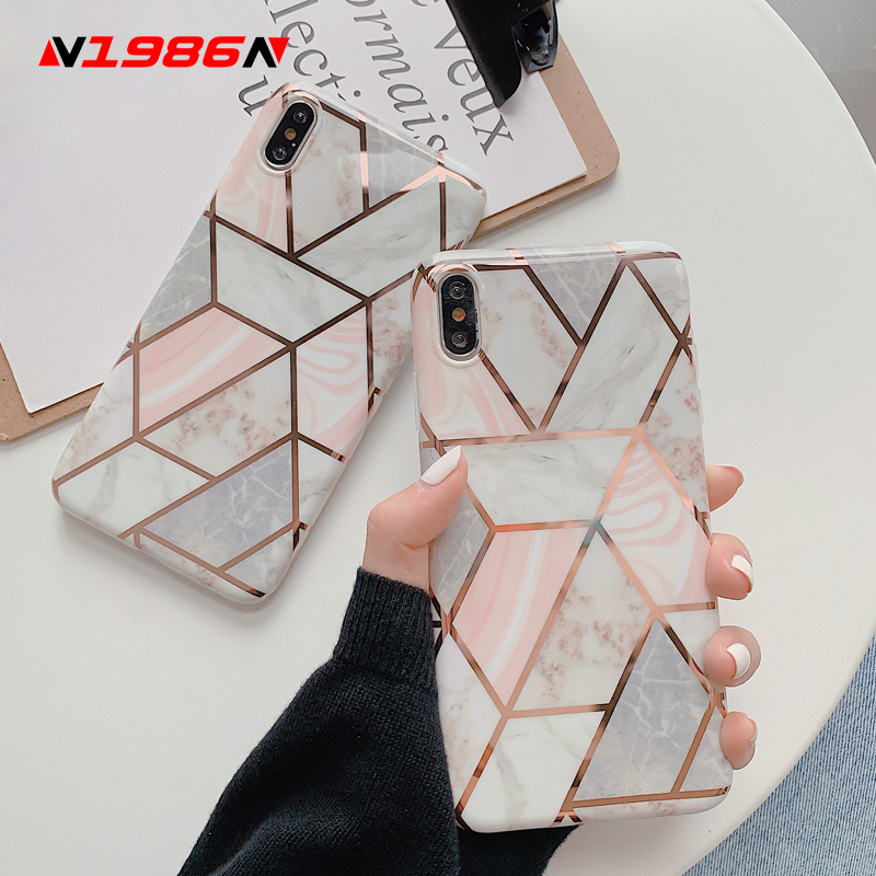 N1986N Splice Marble Phone Case For IPhone 11 11 Pro Max X XR XS Max 6 6s 7 8 Plus Luxury Electroplated Shiny IMD For IPhone 11