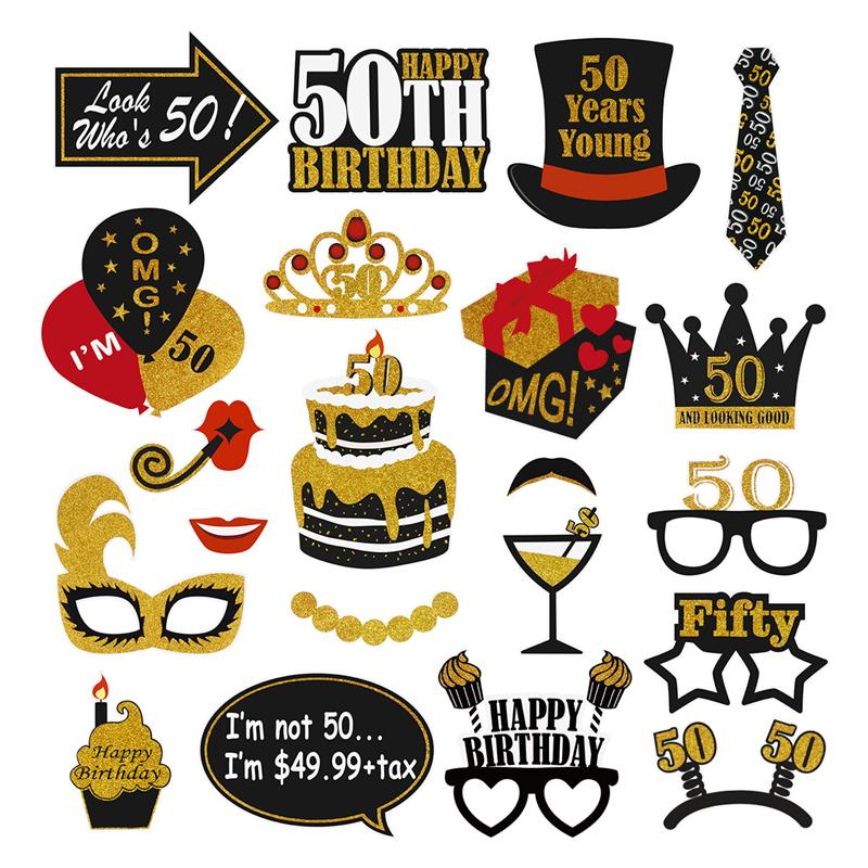 Amosfun 21PCS Black Gold 50th Birthday Creative Funny Party Supplies Party Decoration For Photographing Adults