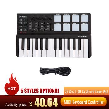 Worlde Panda kontroler MIDI przenośny Mini klawiatura midi 25-Key klawiatura USB bęben Pad profesjonalne controlador klawiatura midi hot tanie i dobre opinie CN (pochodzenie)