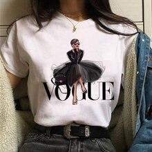 Camisetas femininas moda princesa vogue topos impresso oversized camiseta verão t camisa casual mangas curtas camisa feminina camisetas