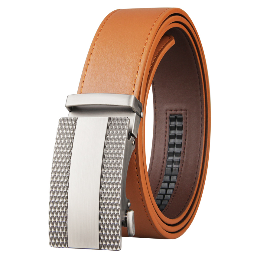 2021 High Quality Genuine Luxury Men Belt Automatic Alloy Buckle Male Belt Genuine Cowskin Leather Golf Belt Plus Size 130cm