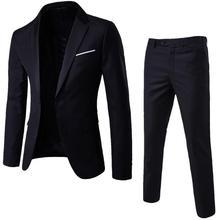 Suits Men 2Pcs/Set Plus Size Men Solid Color Long Sleeve Lapel Slim Button Business Suit