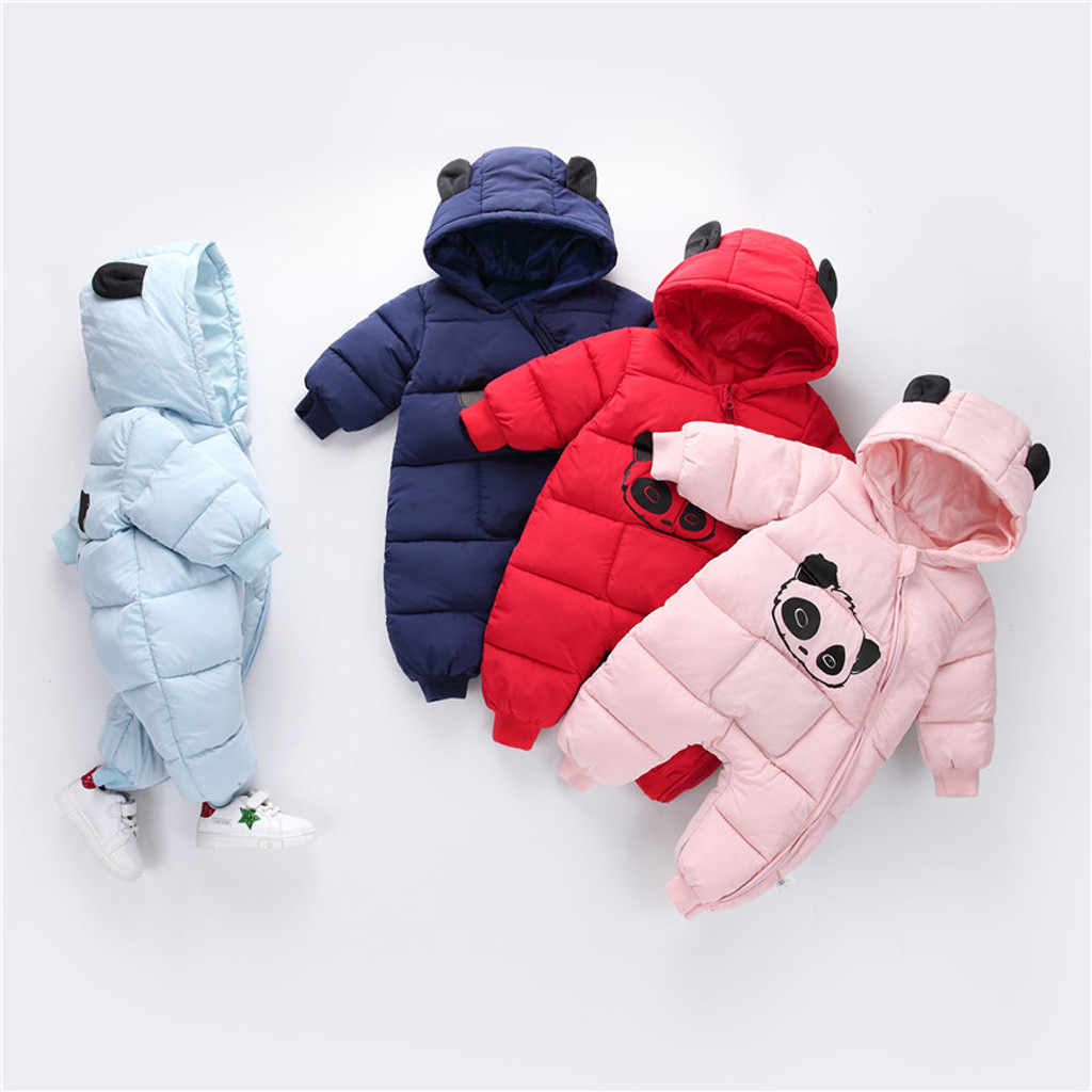 Newborn clothing Baby Boy Girl Cartoon clothes Winter Warm Thick Jumpsuit Hooded Coat Outwear meisjes winterjas parka kids