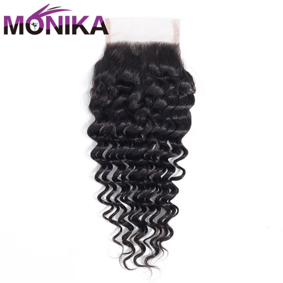 Monika Indian Hair Deep Wave Closure 130% Density Lace Closure Human Hair 4x4 Swiss Lace Closure Free/Middle/Three Part Non-Remy