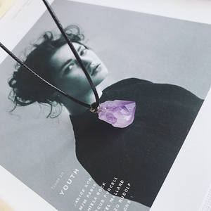 Image 3 - אופנה פשוט אמטיסט תליון טבעי קוורץ אבן גלם גבישים עבור גברים נשים תכשיטים סגול רייקי דגימת מינרלים מתנה