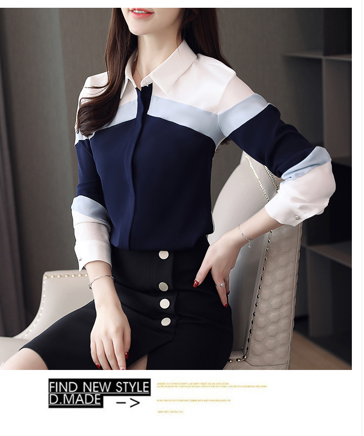 womens tops and blouses 2019 chiffon blouse shirts women tops long sleeve ladies tops button spliced office lady plus size