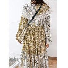 Corea puede enviar moda nueva primavera encaje patchwork vestidos mujeres 2020 suelta gasa flora printting vintage ropa famale Y901