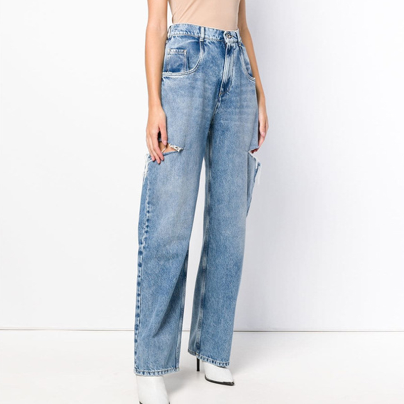 Women High Waist Jeans Washed Straight Leg Destroyed Jeans Pants High Street 2020