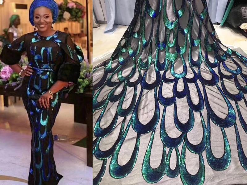 Tela de encaje africano 2019 bordado nigeriano cordones tela nupcial alta calidad verde lentejuelas francés tul encaje tela para mujer-in encaje from Hogar y Mascotas    1