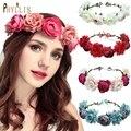 PHYLLIS A65 популярные большие Свадебные Цветочные головные уборы для подружки невесты цветочные повязки Искусственные цветы розы пляжные голо...