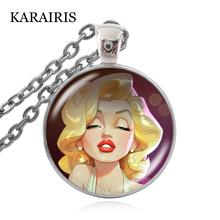 KARAIRIS New Handmade Personalized Marilyn Monroe Necklace Portrait Caricature Marilyn Monroe Pendant Chain Child's Necklaces caricature