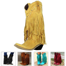 Fashion Cowboy Style Boots Women Tassel Chunky Boots Sexy Fringe Suede Leather Middle Chunky Heel Boots Motorcycle Boots 2020(China)