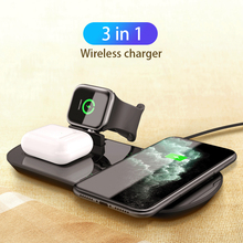 3 in 1 Wireless Charger 10W Fast Wireless Charging Dock for Apple Watch 5 4 3 2 Airpods Pro Wireless Charger for iPhone Samsung wireless charger for apple watch 4 3 2 1 i watch charging portable adapter for apple watch 4 3 usb charger base mini 2mm cable