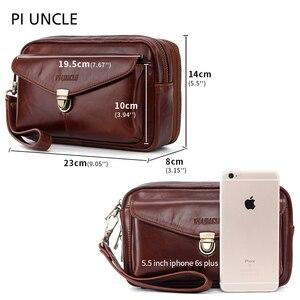 Image 2 - Brand Original Genuine Leather Mens Clutch HandBags Mens Wrist Long Wallet Money Cards Mobile Purse For Women Large Capacity