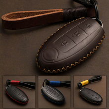 цена на 3 Button Genuine Leather Cover Keyfob For Nissan Altima Maxima GTR Remote Smart Key Case