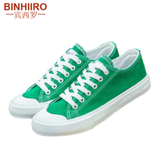 BINHIIRO Men's Vulcanize Shoes Canvas Fashion Lace-up Solid Lovers Shoes Rubber Flat Sneakers Spring Casual Male Shoes 2019 недорого