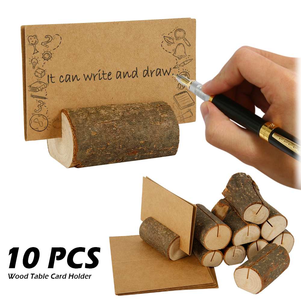 10pcs Wooden Stump Wedding Party Reception Place Wooden Card Holder Stand Number Name Table Menu Picture Photo Clip Card Holder image