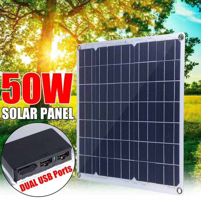 50W Solar Panel Dual USB 12V/5V Monocrystaline Flexible Solar Cells Waterproof Solar Charger for Car RV Yacht Battery Boat|Solar Cells|   - AliExpress