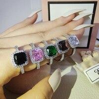 Anillos de Compromiso de Plata de Ley 925 para mujer, joyería de oro rosa y azul, diseño sólido para dedo, R820X