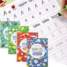4 Книги% 2Fets of Дети% 27 Школа Тетрадь 3D Каллиграфия Многоразовые Почерк Практика Учиться Английский Магия Канцелярские товары