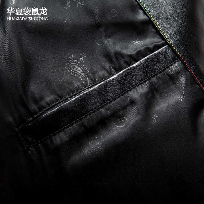 Di Alta Qualità di Marca Genuino Uomini Giacca di Pelle Slim Fit Nuovo Stile di Lusso Del Collare Del Risvolto Maschio Tute in Pelle per Gli Uomini di Pelle di Pecora giacca
