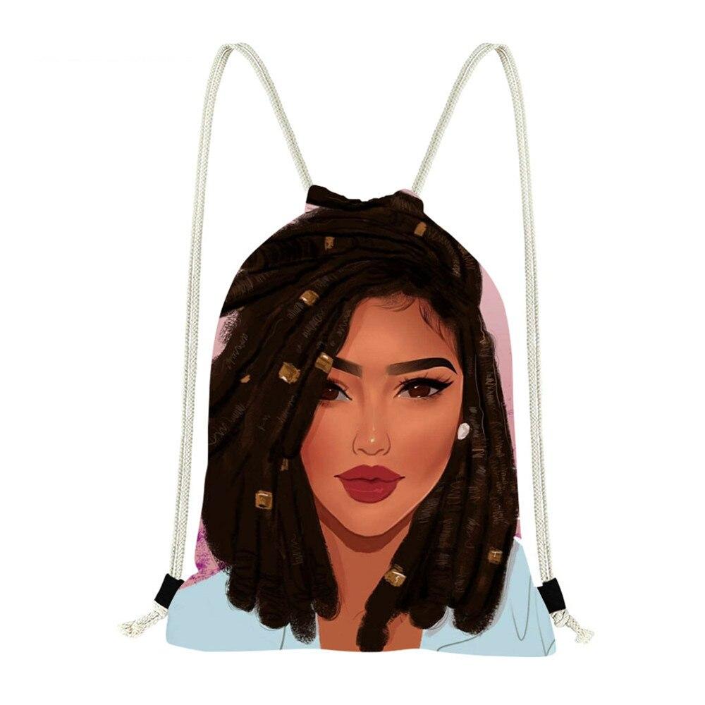 FORUDESIGNS Drawstring Backpack Cute Cartoon African Lady Printing School Bags Cinch Fitness Sports Bags For Women 2019 Mochila