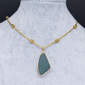 Женское Ожерелье из нержавеющей стали золотого цвета с натуральным кристаллом, подвески, ювелирные изделия, gargantillas cortas mujer moda NA66S04