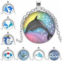 2019 Hot Cute Cartoon Dolphin Glass Cabochon Necklace Art Picture Dome