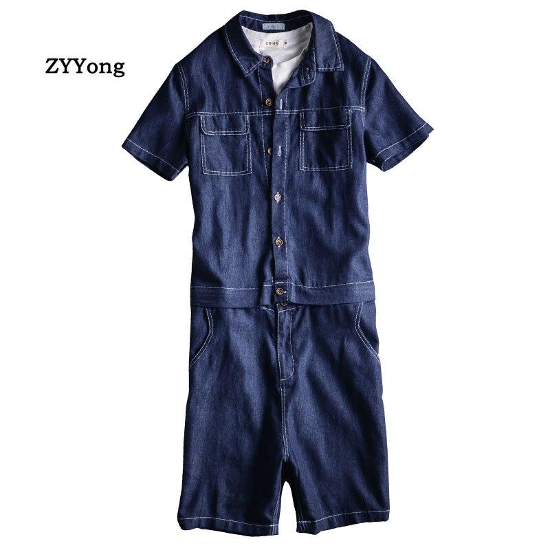 Summer Men Jeans Jumpsuit Short-Sleeved Knee Length Overalls Detachable Waist Hip-Hop Denim Shorts Black Freight Cargo Pants