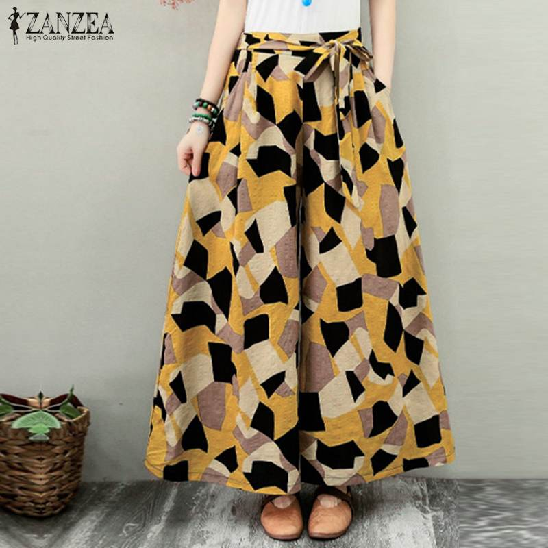 Plus Size Elegant Elastic Waist Long Pantalon Women's Geometric Trousers Pants 2020 ZANZEA Printed Wide Leg Female Summer Turnip