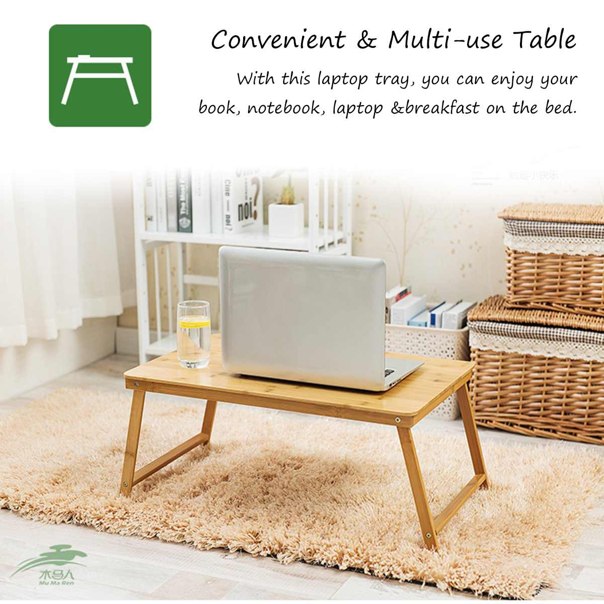 Portable Folding Bamboo Laptop Table Sofa Bed Office Laptop Stand Desk Bed Table For Computer Notebook Books Snacking Tray