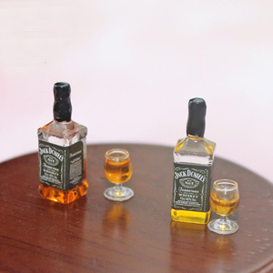 Cute Mini 1/12 Dollhouse Miniature Whisky Wine Drink Bottle Glasses Food for Blyth BJD Doll House Kitchen Accessories Toy(China)