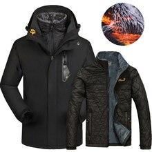 Зимняя Лыжная куртка для мужчин и женщин, водонепроницаемая теплая куртка 2 в 1 для катания на лыжах и сноуборде, куртки размера плюс, зимние женские пальто