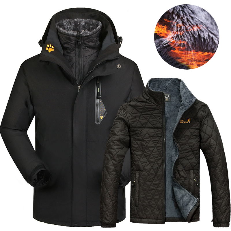 Winter Ski Jacket Men And Women Outdoor Waterproof Thermal 2 In 1 Skiing And Snowboarding Jackets Plus Size Snow Female Coats