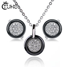 2019 Fashion Women Necklace Earrings Jewelry Sets for Female Black White Color CZ Crystal Ceramic Jewelry Sets Christmas Gift(China)