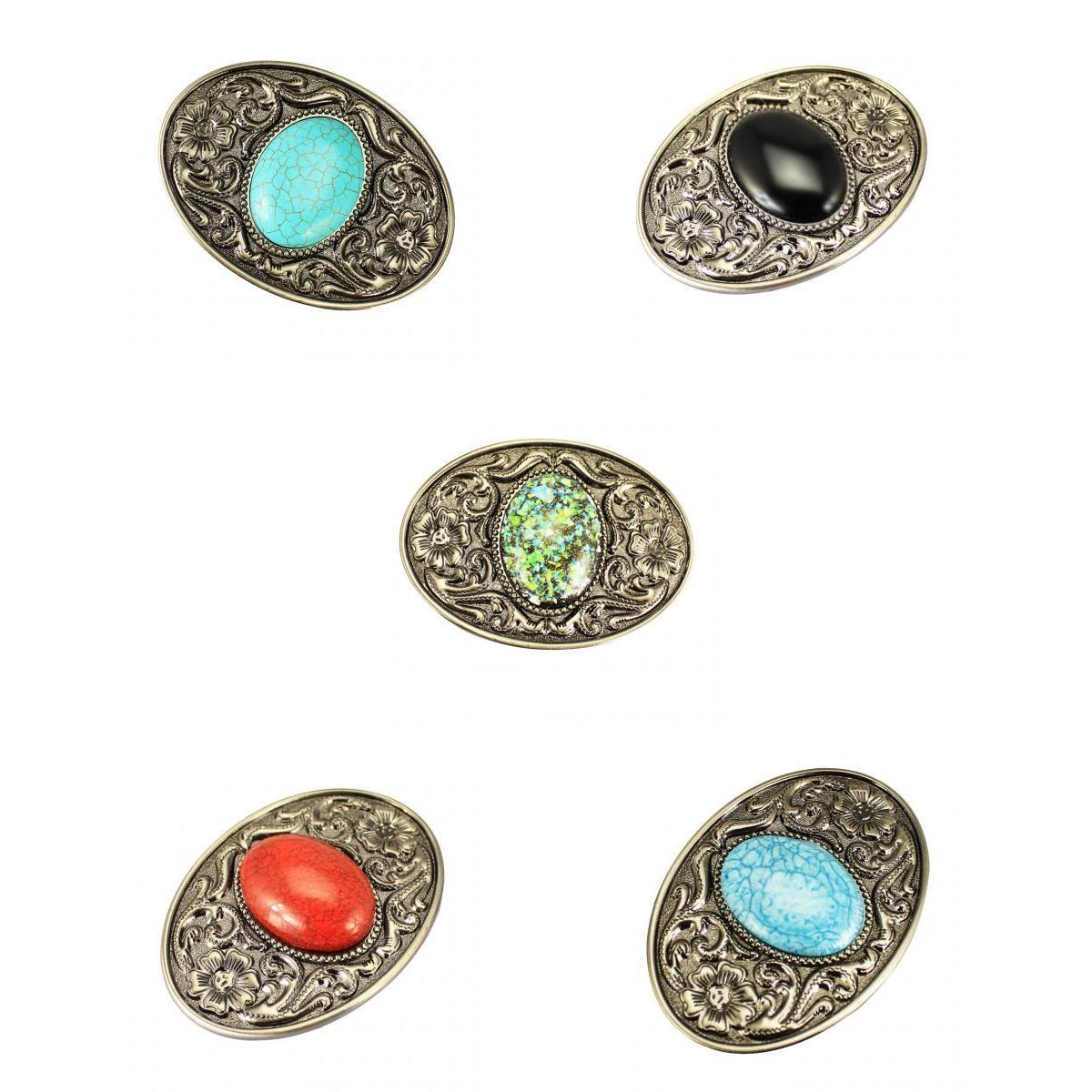 5PCS Bohemian Style Western Cowboy Belt Buckle Men Women DIY Accessories Classic Bohemian Colorful Beads Turquoise Belt Buckle