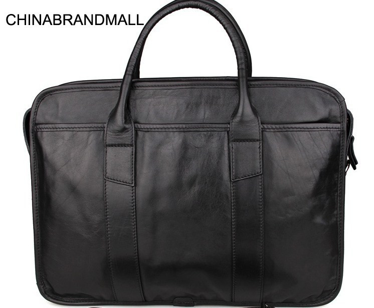 Genuine Leather Men Solid Business Briefcase Office Laptop Handbag