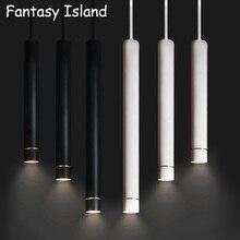 Golden ring White led Pendant Lamp Long Tube lamp Kitchen Island Dining Room Shop Bar Decoration Cylinder Pipe Pendant Light