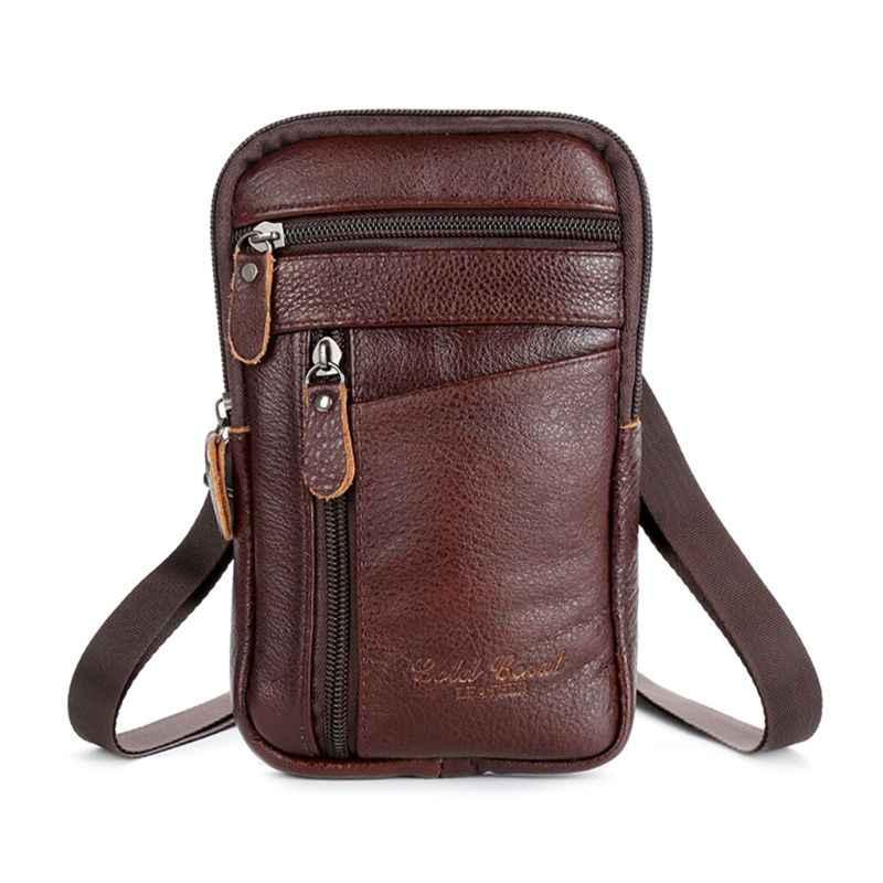 Mannen Echt Leer Mode Telefoon Pouch Belt Bag Schouder Crossbody Taille Verpakking