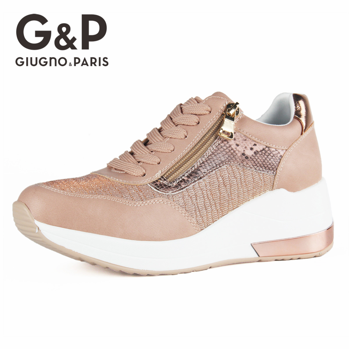 Brand Sneakers Women Breathable Shoes New Design 2020 Casual Platform Wedge Fashion Sneaker With Zipper Easy to Wear 5