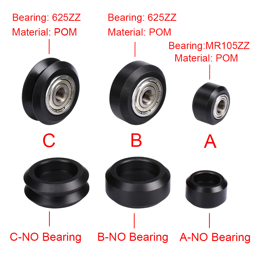 CNC Openbuilds Plastic Wheel POM MR105ZZ 625ZZ Bearing Passive Round Wheel Perlin Wheel V-slot V-type C-Beam 3D Printer Parts