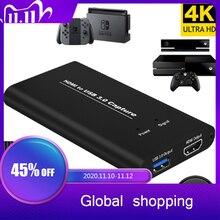 KuWFi USB3.0 HDMI 4K60Hz לכידת וידאו HDMI כדי משחק Dongle כרטיס לכידת וידאו USB הזרמת זרם חי שידור עם קלט MIC