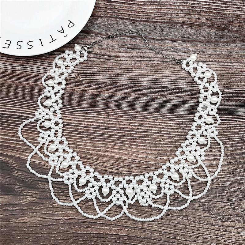 Women Faux Pearl Shirt False Collar Detachable Fake Necklace Shirt Accessories